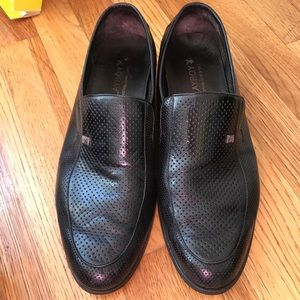 Playboy men black leather shoes w perforated holes
